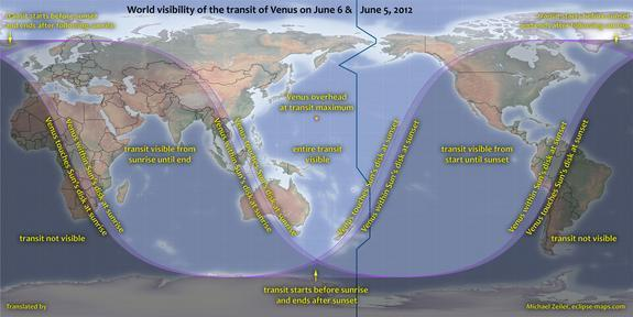 World visibility of the transit of Venus on 5-6 June 2012. Spitsbergen is an Artic island – part of the Svalbard archipelago in Norway – and one of the few places in Europe from which the entire transit is visible. For most of Europe, only the
