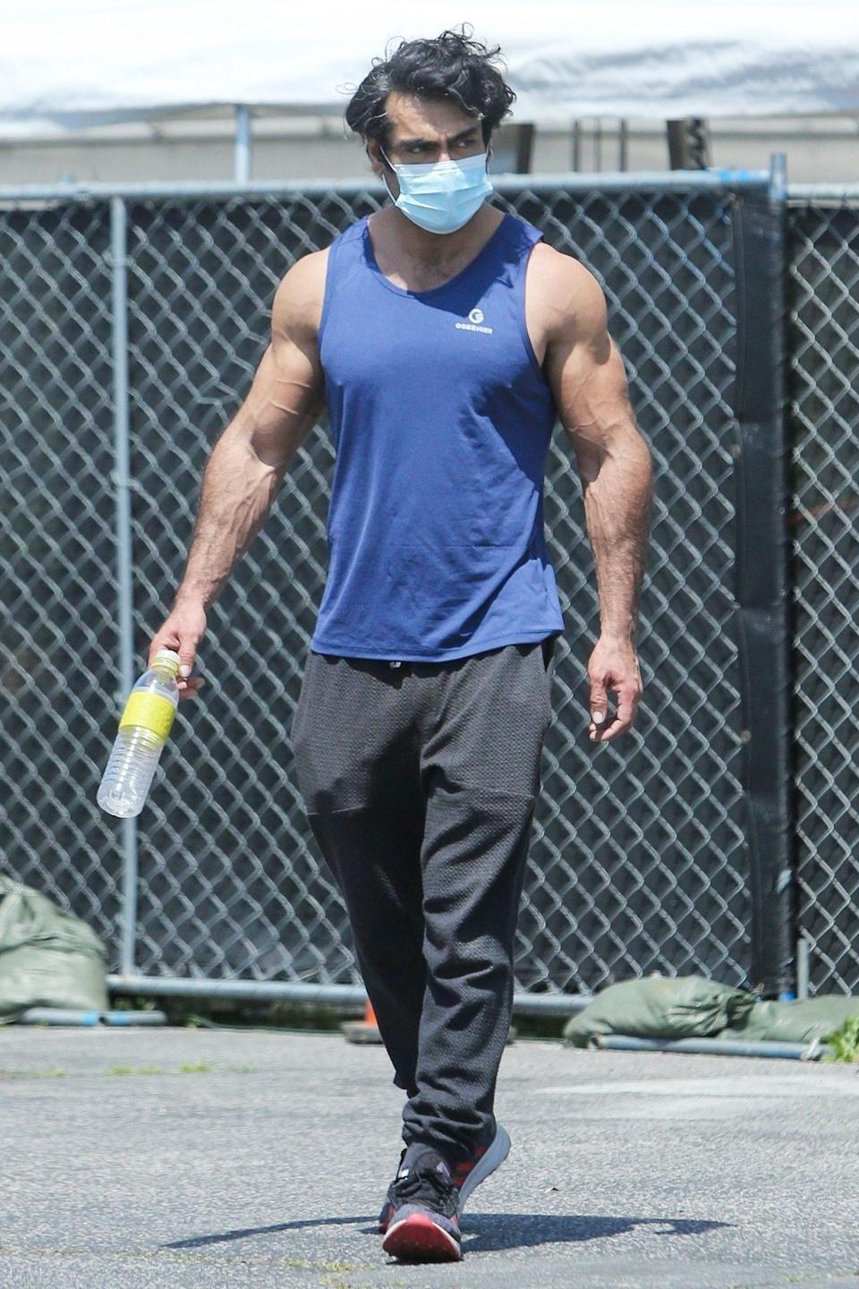 <p>Kumail Nanjiani looks ripped as he leaves the gym after a workout on Friday in L.A.</p>
