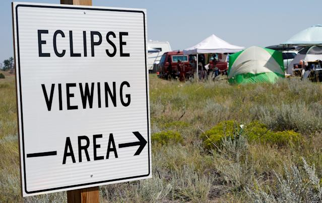 <p>A designated eclipse viewing area is seen in a campground near Guernsey, Wyoming, Aug. 20, 2017. (Photo: Rick Wilking/Reuters) </p>