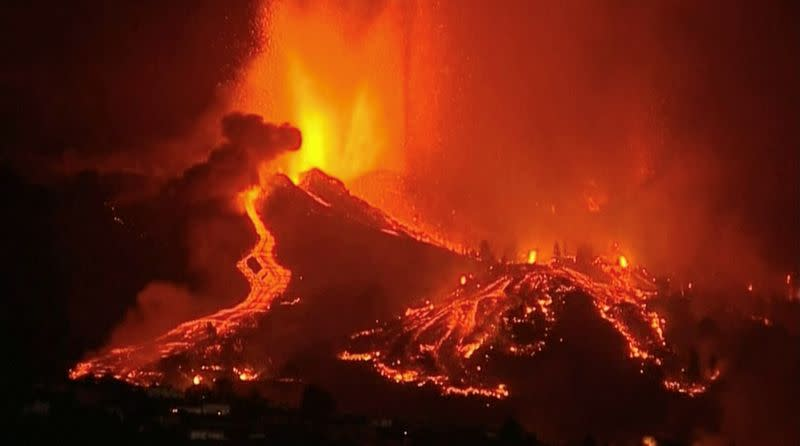Lava pours out of a volcano on La Palma in Spain's Canary Islands