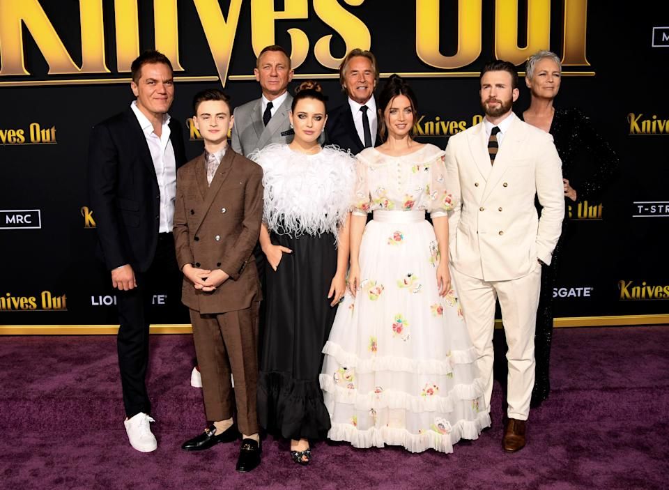 "Cast members, from left, Michael Shannon, Jaeden Martell, Daniel Craig, Katherine Langford, Don Jojnson, Ana De Armas, Chris Evans and Jaimie Lee Curtis attend the premiere of ""Knives Out"" in Los Angeles, California, U.S. November 14, 2019. REUTERS/Phil McCarten"