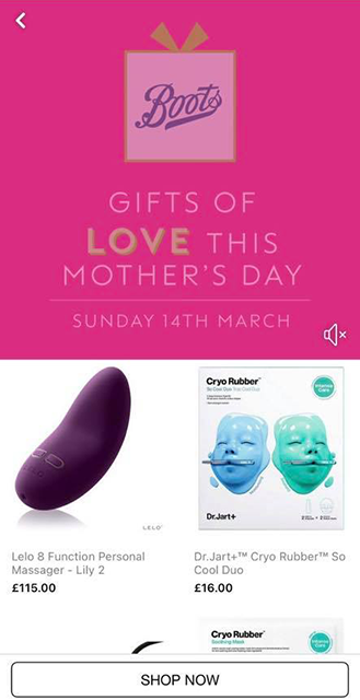 Boots vibrator mothers day gift ad