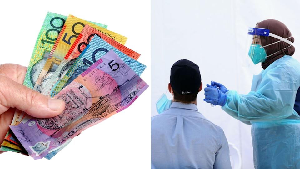 Australian cash payment, person being tested for Covid-19 in white room by nurse in PPE