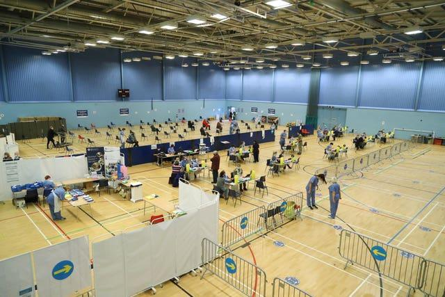 Vaccines being administered at Cwmbran Stadium in Cwmbran, south Wales (Geoff Caddick/PA)