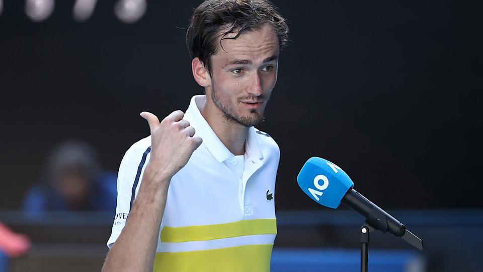 Daniil Medvedev admitted he needed medical treatment before he could muster the strength to do his post-game interview after his quarter-final win. (Photo by Cameron Spencer/Getty Images)