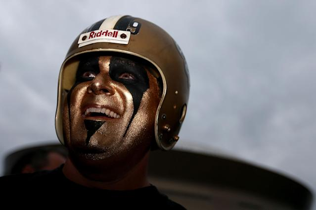 <p>A fan is seen prior to the NFL Wild Card Round between the Carolina Panthers and the New Orleans Saints at the Mercedes-Benz Superdome on January 7, 2018 in New Orleans, Louisiana. (Photo by Sean Gardner/Getty Images) </p>