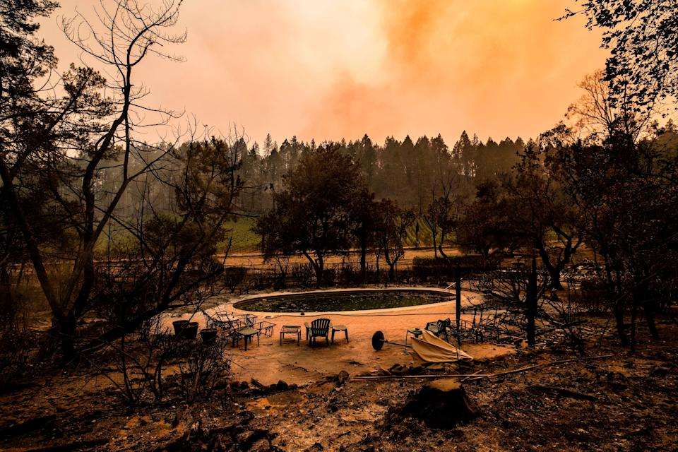 A swimming pool is the only thing left at a burned Napa Valley home on Monday.