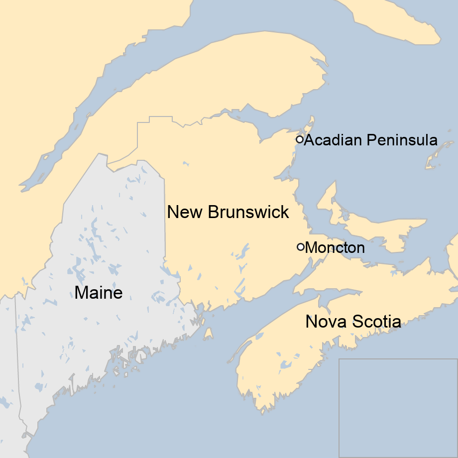 Map: Map showing New Brunswick, Canada