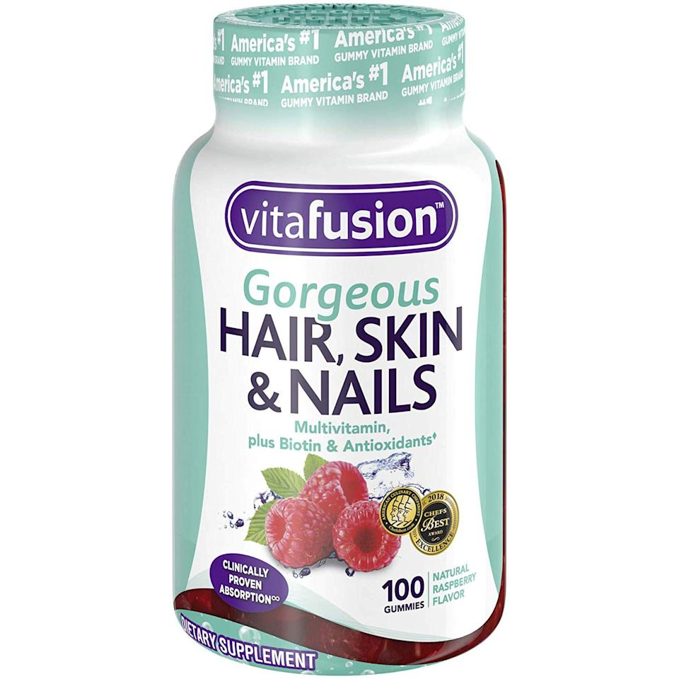 """<p>You've probably heard of biotin before and it's for good reason: It's known for helping hair and nails grow longer and stronger. </p> <p>That's why Lucy Garcia Planck, a hairstylist at the <a href=""""https://johnbarrett.com/"""" target=""""_blank"""">John Barrett Salon</a> in New York, says she always recommends her clients take a daily biotin supplement. Her favorite? The <a href=""""https://www.amazon.com/Vitafusion-Gorgeous-Nails-Multivitamin-Count/dp/B01JMTNXBW/ref=sr_1_6?keywords=Vitafusion+Gorgeous+Hair%2C+Skin+%26+Nails&qid=1562176670&s=hpc&sr=1-6"""" target=""""_blank"""">Vitafusion Gorgeous Hair, Skin and Nails</a> gummy multivitamin that, in addition to biotin, contains other key nutrients, like vitamins C and E to help nourish hair.</p>"""