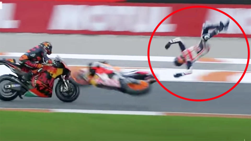 Alex Marquez, pictured here during the frightening crash at the Valencia Grand Prix.
