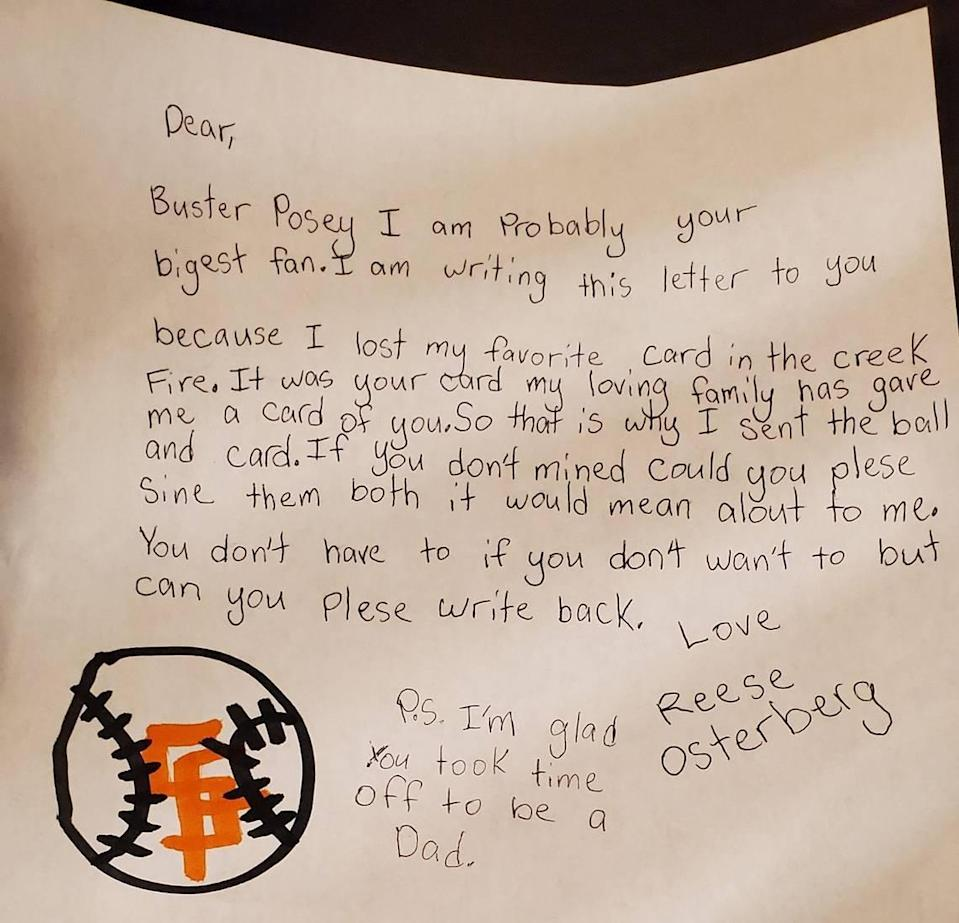 A letter Reese Osterberg, 9, recently wrote to Giants catcher Buster Posey.