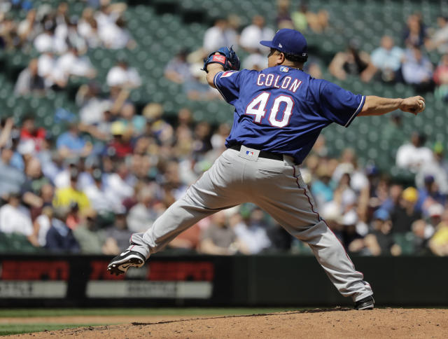 Texas Rangers starting pitcher Bartolo Colon throws against the Seattle Mariners during the fifth inning of a baseball game, Wednesday, May 16, 2018, in Seattle. (AP Photo/Ted S. Warren)