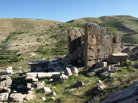 The remains of the temple at Hosn Niha, likely built during the second century A.D. Look for the village settlement below the temple on the left of the picture.