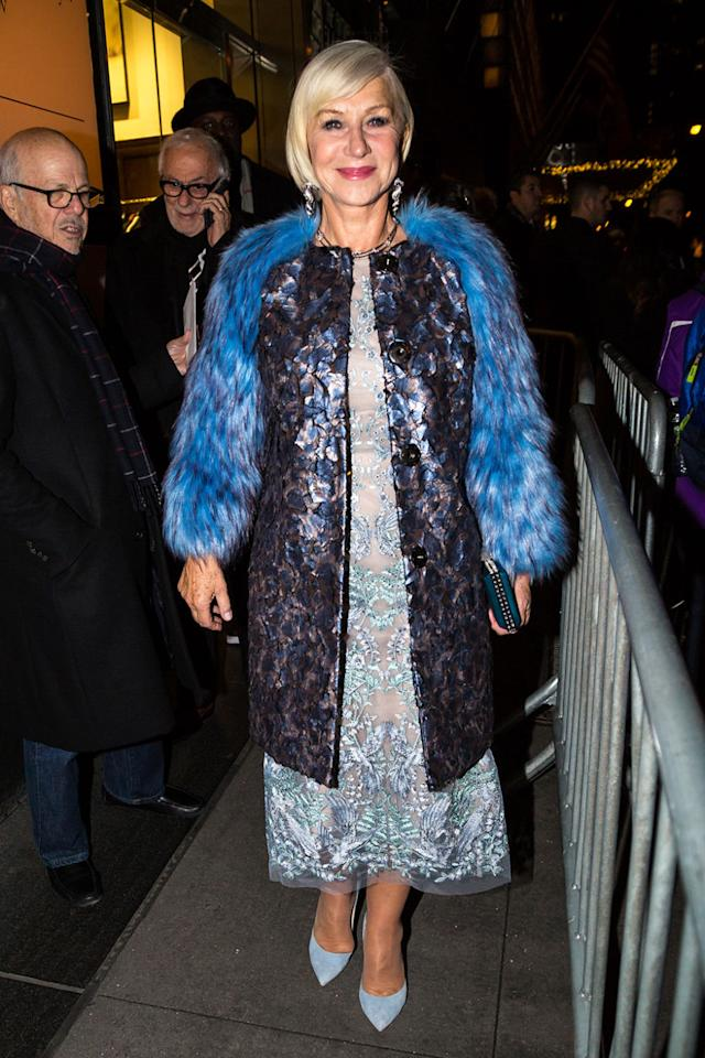<p>Give it up for Dame Helen Mirren, reminding us here that it is also the season of plenty, which means it is also the season of being extra. Fur? MORE, if faux. Blue tones? YES. Texture? ALL OF THEM. And makeup and earrings and trimmings to the max. </p>