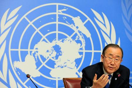 U.N. Secretary-General Ban Ki-moon speaks to the press at the United Nations European headquarters in Geneva