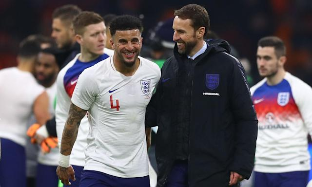 Gareth Southgate with Kyle Walker after England's away win against the Netherlands in March.