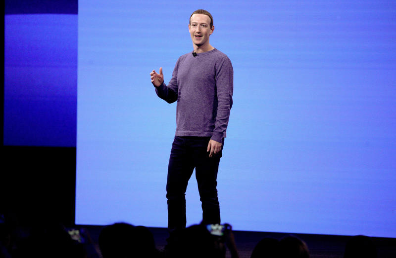 FILE - In this April 30, 2019, file photo, Facebook CEO Mark Zuckerberg makes the keynote speech at F8, Facebook's developer conference in San Jose, Calif. A Wall Street Journal report says that the FTC has voted this week to approve a fine of about $5 billion for Facebook over privacy violations. The report Friday, July 12, 2019, cites an unnamed person familiar with the matter. (AP Photo/Tony Avelar, File)