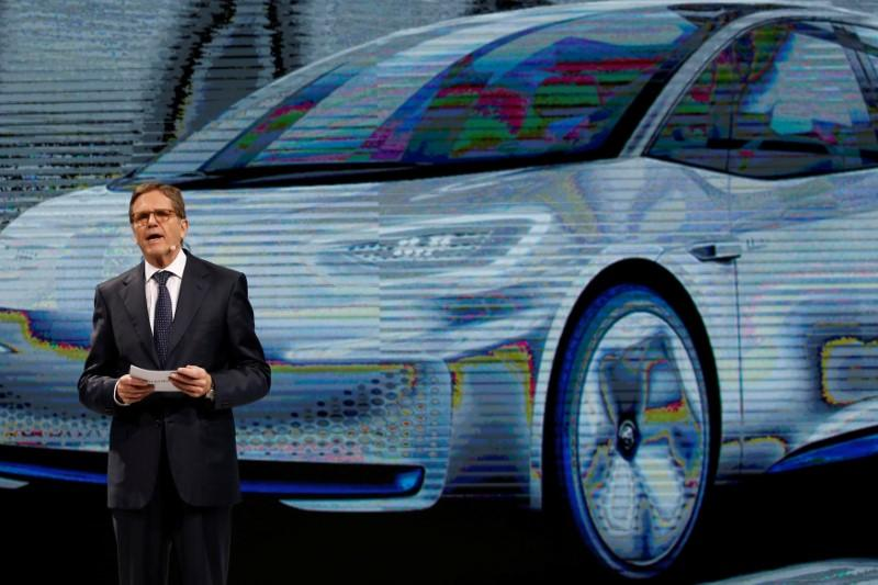 Jochem Heizmann, President and CEO of Volkswagen Group China, attends a news conference in Guangzhou