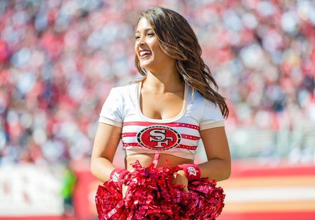 <p>A Gold Rush cheerleader smiles during the regular season game between the San Francisco 49ers and the Dallas Cowboys on October 22, 2017 at Levi's Stadium in Santa Clara, CA (Photo by Samuel Stringer/Icon Sportswire via Getty Images) </p>