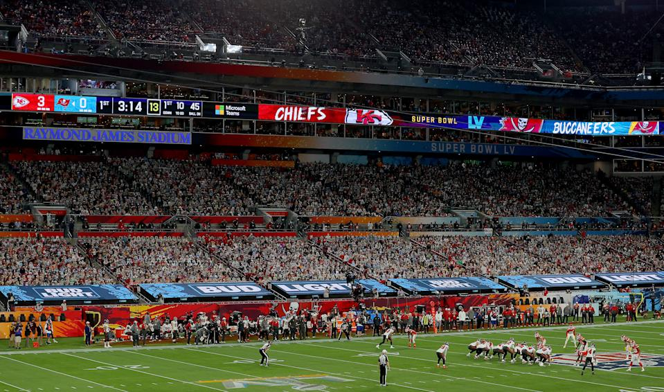 The stands at Raymond James Stadium looked packed for Super Bowl LV, but only some of the 'fans' were actual humans. (Photo by Kevin C. Cox/Getty Images)