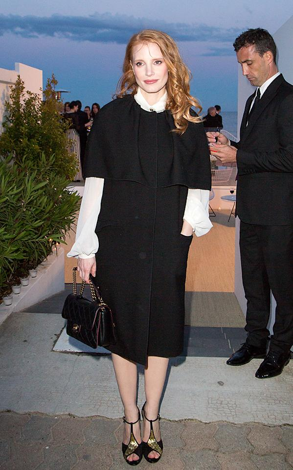 CANNES, FRANCE - MAY 19:  Actress Jessica Chastain arrives to attend the 'Vanity Fair Chanel' dinner at 'Tetou' restaurant during the 66th Annual Cannes Film Festival on May 19, 2013 in Le Golfe Juan, France.  (Photo by Marc Piasecki/FilmMagic)