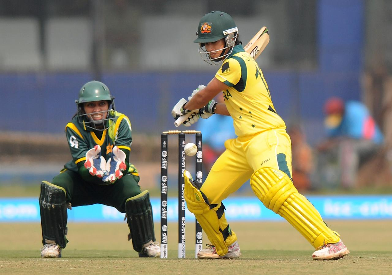 CUTTACK, INDIA - FEBRUARY 01:  Lisa Sthalekar of Australia bats during the second match of ICC Womens World Cup between Australia and Pakistan, played at the Barabati stadium on February 1, 2013 in Cuttack, India.  (Photo by Pal Pillai-ICC/ICC via Getty Images)