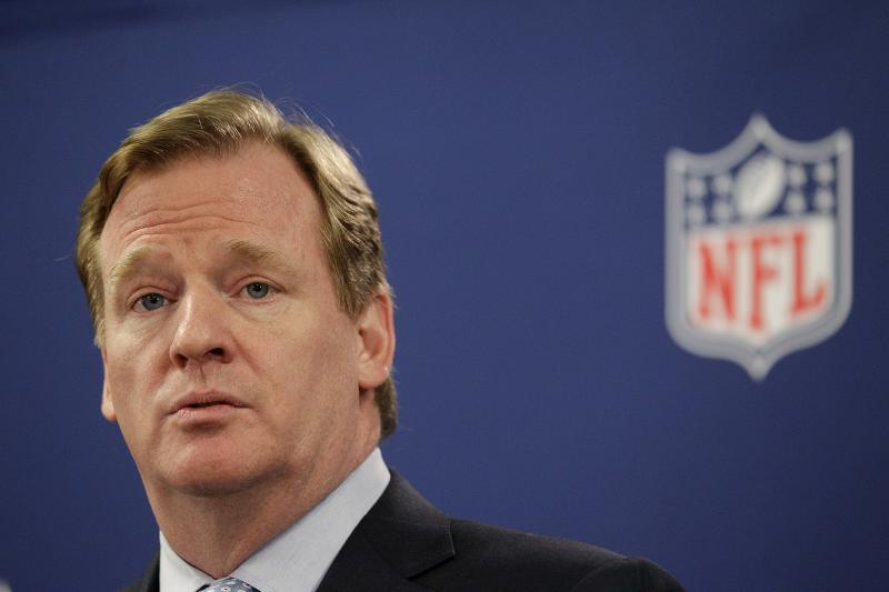 NFL Commissioner Roger Goodell speaks at a news conference following an owners meeting Tuesday, May 22, 2012, in Atlanta. (AP Photo/David Goldman)