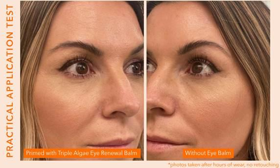 Jill Powell, celebrity makeup artist results with and without Algenist Triple Algae Eye Renewal Balm [Photo via Algenist]