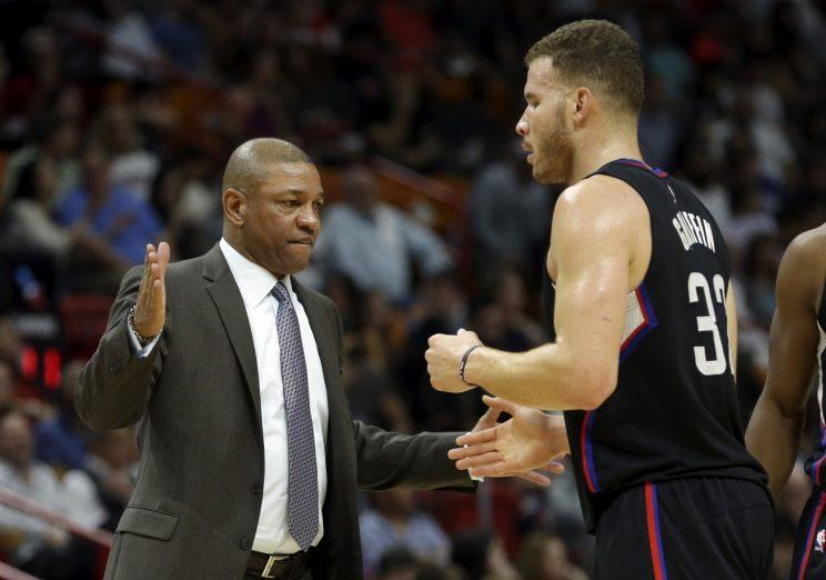 Doc Rivers and Blake Griffin execute a particularly awkward handshake. (AP)