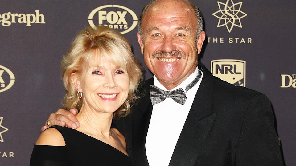 Wally Lewis and wife Jacqui, pictured here at the 2016 Dally M Awards.