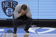 FILE - Washington Wizards head coach Scott Brooks reacts to a foul call during an NBA basketball game against the Brooklyn Nets in New York, in this Sunday, Jan. 3, 2021, file photo. Scott Brooks is out as coach of the Washington Wizards, said a person with knowledge of the situation. The person spoke to The Associated Press Wednesday, June 16, 2021, on condition of anonymity because the team hadn't publicly announced the decision. (AP Photo/Kathy Willens, File)