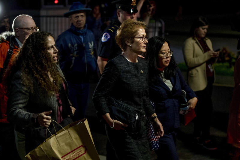 Marie Yovanovitch, the former U.S. ambassador to Ukraine, leaves the Capitol after a closed deposition in Washington, Oct. 11, 2019. (Anna Moneymaker/The New York Times)
