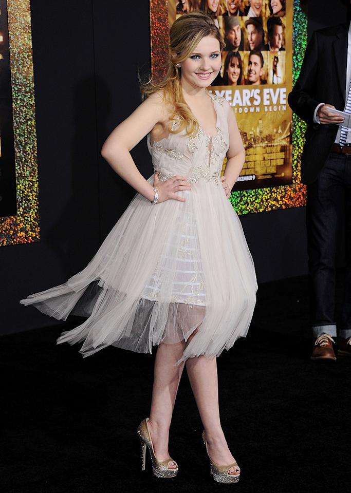 """<a href=""""http://movies.yahoo.com/movie/contributor/1807733519"""">Abigail Breslin</a> at the Los Angeles premiere of <a href=""""http://movies.yahoo.com/movie/1810219047/info"""">New Year's Eve</a> on December 5, 2011."""