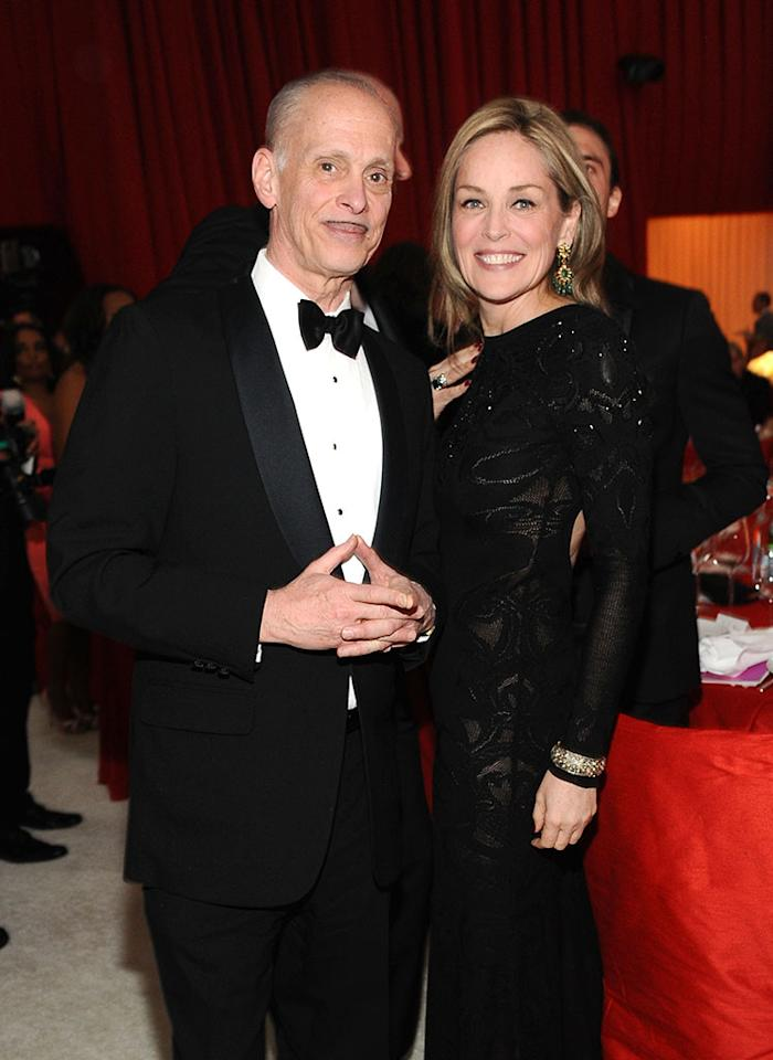 John Waters and Sharon Stone attend Chopard at 21st Annual Elton John AIDS Foundation Academy Awards Viewing Party at Pacific Design Center on February 24, 2013 in West Hollywood, California.