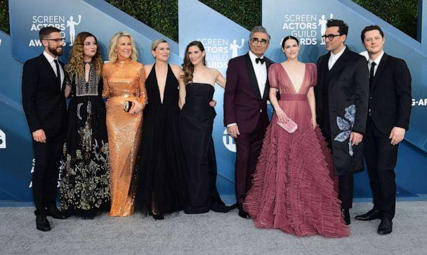PHOTO: 'Schitt's Creek' cast arrives for the 26th Annual Screen Actors Guild Awards at the Shrine Auditorium in Los Angeles, Jan. 19, 2020.  (Frederic J. Brown/AFP via Getty Images)