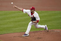St. Louis Cardinals starting pitcher Jack Flaherty throws during the first inning of a baseball game against the Kansas City Royals Monday, Aug. 24, 2020, in St. Louis. (AP Photo/Jeff Roberson)
