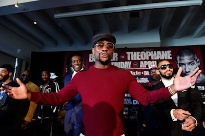 Floyd Mayweather speaks during a press conference for Adrien Broner's fight with Ashley Theophane. (Getty)