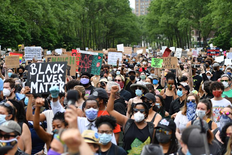 Protesters gather to demonstrate the death of George Floyd on June 4, 2020, in New York. On May 25, 2020, Floyd, a black man suspected of passing a counterfeit $20 bill, died in Minneapolis while in police custody.