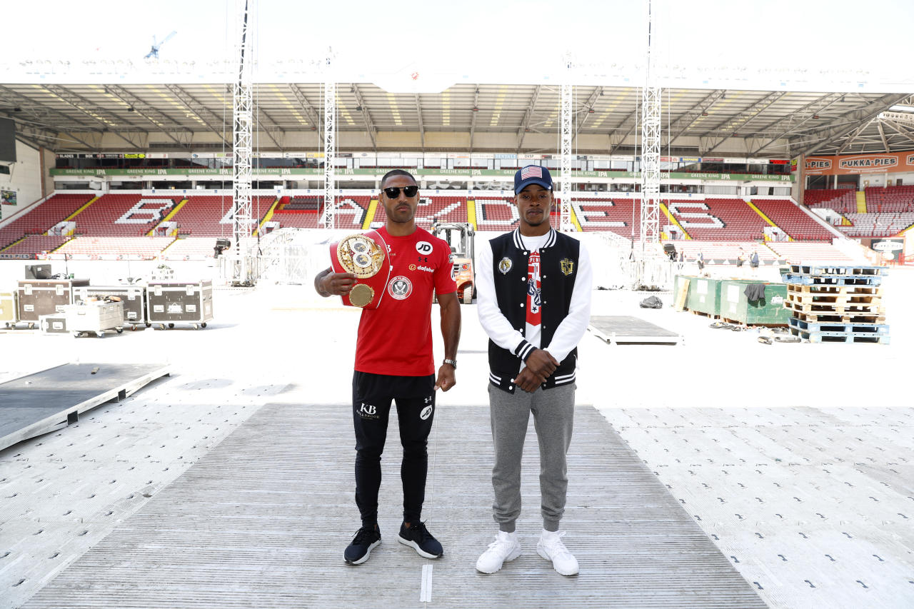 Britain Boxing - Kell Brook & Errol Spence Press Conference - Bramall Lane, Sheffield - 25/5/17 Kell Brook poses with Errol Spence after the press conference Action Images via Reuters / Carl Recine Livepic EDITORIAL USE ONLY.