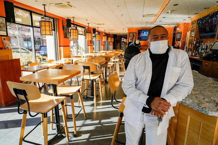 Andrew Walcott, owner of Fusion East Caribbean & Soul Food in Brooklyn, had to furlough four employees at his restaurant just before Christmas after New York state barred indoor dining.