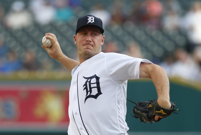 FILE - In this Aug. 21, 2018 file photo, Detroit Tigers pitcher Jordan Zimmermann throws against the Chicago Cubs in the first inning of a baseball game in Detroit. Zimmermann and his wife are donating $500,000 to the baseball program at the University of Wisconsin-Stevens Point, where both were student athletes. The university said Thursday, Jan. 7, 2019, that the gift is the largest of its kind to a Pointers athletic program. The school says the money will help upgrade University Field with a new scoreboard, backstop and batting cages. The field also will be renamed Zimmermann Field. Mandy Zimmermann played softball at UW-Stevens Point. (AP Photo/Paul Sancya, File)
