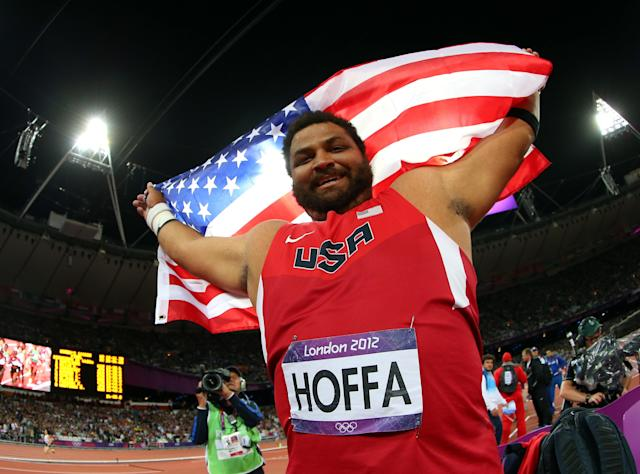 LONDON, ENGLAND - AUGUST 03: Reese Hoffa of the United States celebrates his bronze medal in the Men's Shot Put Final on Day 7 of the London 2012 Olympic Games at Olympic Stadium on August 3, 2012 in London, England. (Photo by Alexander Hassenstein/Getty Images)