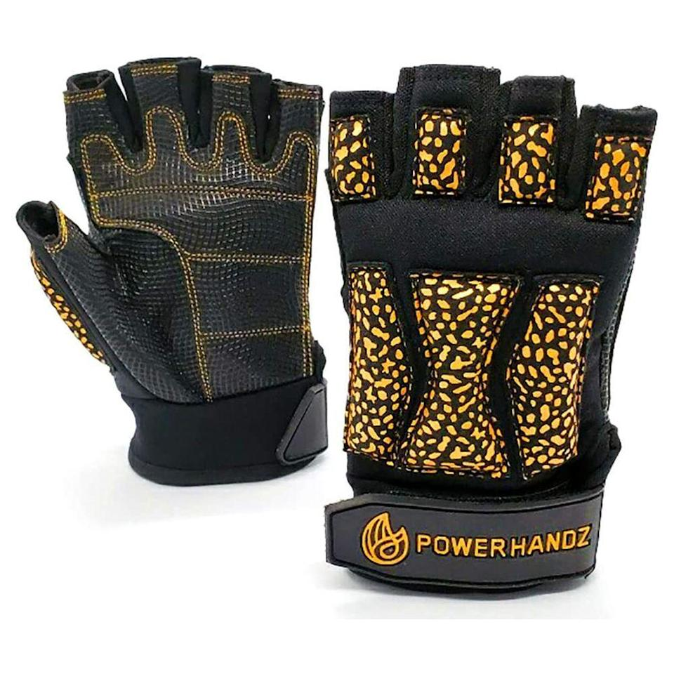 """<p><strong>POWERHANDZ</strong></p><p>amazon.com</p><p><strong>$44.99</strong></p><p><a href=""""https://www.amazon.com/dp/B07CQ279HR?tag=syn-yahoo-20&ascsubtag=%5Bartid%7C2089.g.362%5Bsrc%7Cyahoo-us"""" rel=""""nofollow noopener"""" target=""""_blank"""" data-ylk=""""slk:Shop Now"""" class=""""link rapid-noclick-resp"""">Shop Now</a></p><p>This pair of training gloves has it all. Depending on the size, they're weighted from half a pound to two pounds, adding that extra kick to any fitness routine. The fingerless design means you don't have to take them off to operate exercise equipment.<br><br>Best of all, they're so comfortable. The palm contains foam-gel padding, covered with anti-slip material. </p>"""