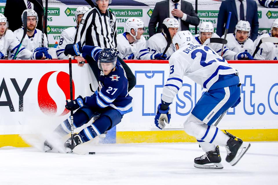Nikolaj Ehlers was injured in a collission with Maple Leafs defenceman Jake Muzzin on Saturday.  (Photo by Darcy Finley/NHLI via Getty Images)