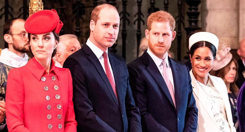 Fab Four: Meghan, Harry, Kate and William pictured together at a Commonwealth Day service at Westminster Abbey in London on 11 March this year. [Photo: Getty]