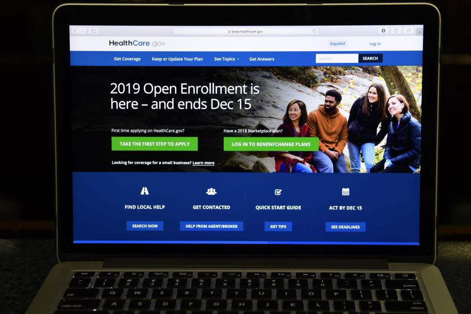 The federal website where consumers can sign up for health insurance under the Affordable Care Act is shown on a computer screen in Washington, Thursday, Nov. 1, 2018. (AP Photo/Susan Walsh)