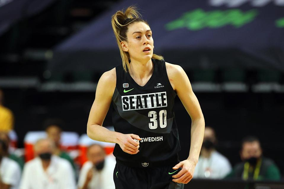 """<p>In 2016, Stewart was the first overall WNBA draft pick. Later that year, she was named the WNBA Rookie of the Year. She is a two-time WNBA champion and competed at the Olympics for Team USA in Rio. She's engaged to <a href=""""http://www.instagram.com/p/COYuQO9FsD-/"""" class=""""link rapid-noclick-resp"""" rel=""""nofollow noopener"""" target=""""_blank"""" data-ylk=""""slk:Marta Xargay Casademont"""">Marta Xargay Casademont</a>, a Spanish pro basketball player. <a href=""""https://www.usab.com/basketball/players/womens/s/stewart-breanna.aspx"""" class=""""link rapid-noclick-resp"""" rel=""""nofollow noopener"""" target=""""_blank"""" data-ylk=""""slk:Check out Stewart's USA Basketball profile here"""">Check out Stewart's USA Basketball profile here</a>.</p> <p><strong>Age:</strong> 26</p> <p><strong>Current WNBA Team:</strong> Seattle Storm</p> <p><strong>Position:</strong> Forward / center</p> <p><strong>Instagram:</strong> <a href=""""https://www.instagram.com/breannastewart30/"""" class=""""link rapid-noclick-resp"""" rel=""""nofollow noopener"""" target=""""_blank"""" data-ylk=""""slk:@breannastewart30"""">@breannastewart30</a></p>"""