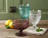 """<p>These stylish designs will add elegance to any dining room. They're composed of durable, embossed pressed glass. The<a href=""""http://yahooshopping.pgpartner.com/plr.php?id=18046"""" rel=""""nofollow noopener"""" target=""""_blank"""" data-ylk=""""slk:ice cream bowl"""" class=""""link rapid-noclick-resp""""> ice cream bowl</a> and <a href=""""http://yahooshopping.pgpartner.com/plr.php?id=18051"""" rel=""""nofollow noopener"""" target=""""_blank"""" data-ylk=""""slk:footed glass goblets"""" class=""""link rapid-noclick-resp"""">footed glass goblets</a> are both available at Walmart for $15.68.</p>"""