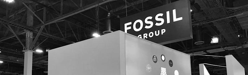 """A """"Fossil Group"""" sign at its booth at the Consumer Electronics Show in January."""