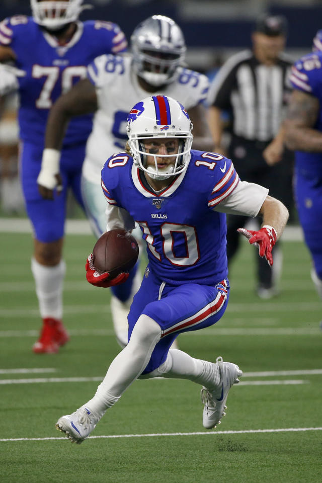 Buffalo Bills wide receiver Cole Beasley (10) finds running room after catching a pass in the second half of an NFL football game against the Dallas Cowboys in Arlington, Texas, Thursday, Nov. 28, 2019. (AP Photo/Ron Jenkins)